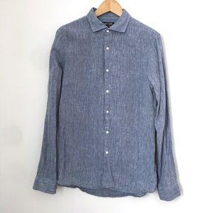 Michael Kors Button Down Shirt M Linen Slim Fit